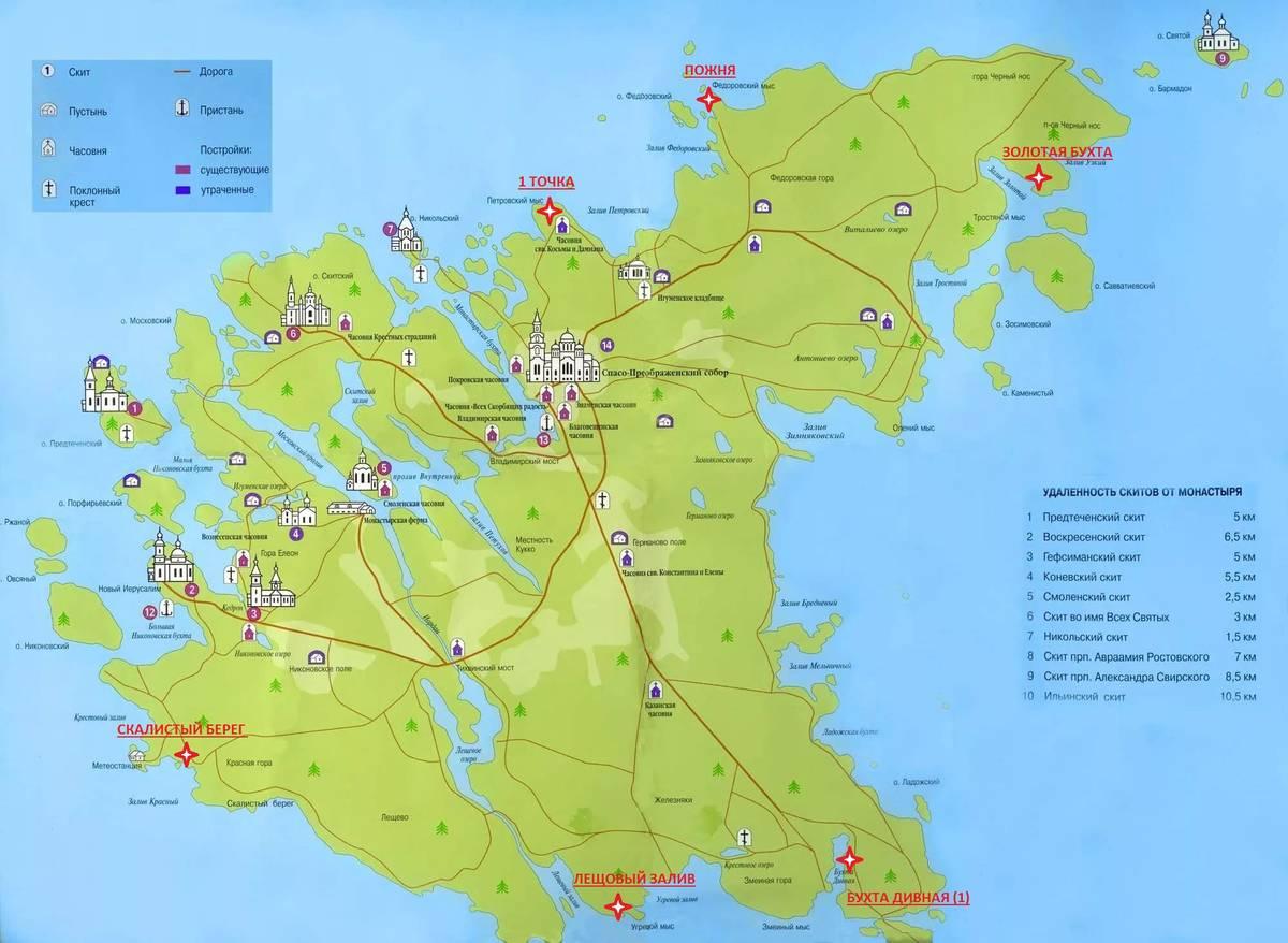 Палаточные стоянки отмечены на карте красным. Источник: группа во «Вконтакте» «Палаточные стоянки на островеВалаам»