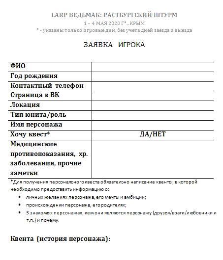 Пример заявки на ролевую игру «Ведьмак», которую заполнял каждый участник