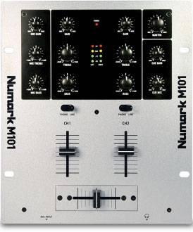 Numark M101, 7000<span class=ruble>Р</span>. Просто пульт. Собирает два сигнала в один. Непригоден для скретча