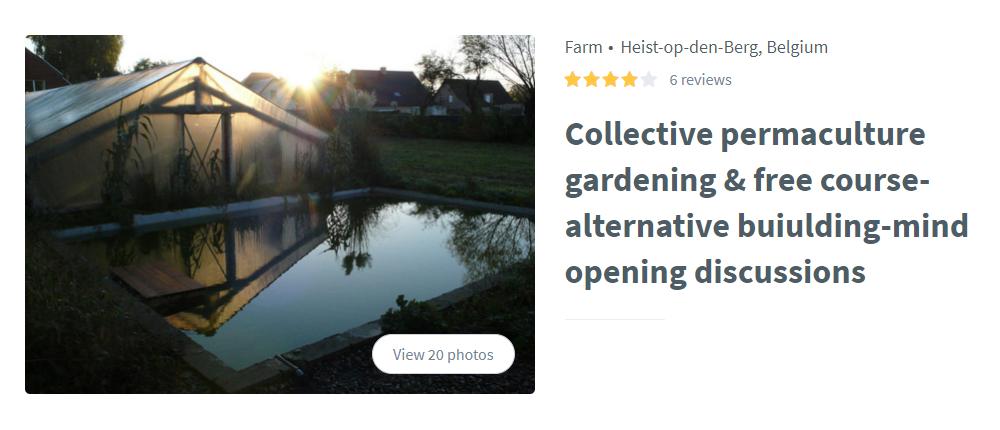 Я нашла сообщество «Плюкрип» на сайте Worldpackers. Названия в заголовке не было, но оно упоминалось в отзывах. В разделе Program Details даже указали сайт. Если вы посмотрели профиль и не нашли название, его можно отыскать в поисковике по ключевому слову и местности. Например, запрос permaculture farm Heist-op-den-Berg в Гугле выведет именно к этому сообществу