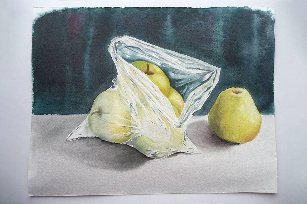 Те самые яблоки в полиэтиленовом пакете, которые я нарисовала на практике-интенсиве «Лекторума»