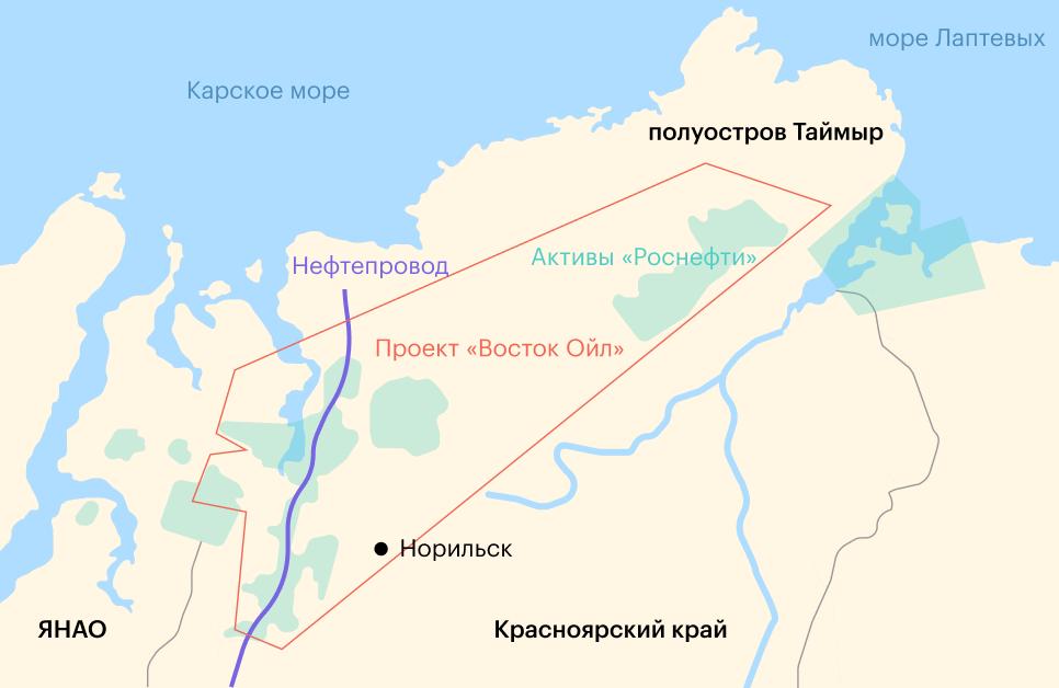 Расположение месторождений проекта «Восток Ойл». Источник: презентация «Роснефти», стр.11