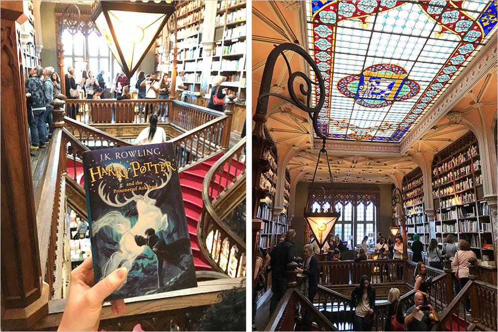 Книжный магазин Livraria Lello, в котором снимали Гарри Поттера. Вход стоит 5€ (455<span class=ruble>Р</span>)