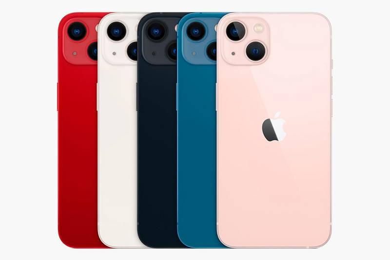 Все расцветки 13 и 13 mini — PRODUCT(RED), «Сияющая звезда», «Темная ночь», «Синий», «Розовый». Источник: «Эпл»
