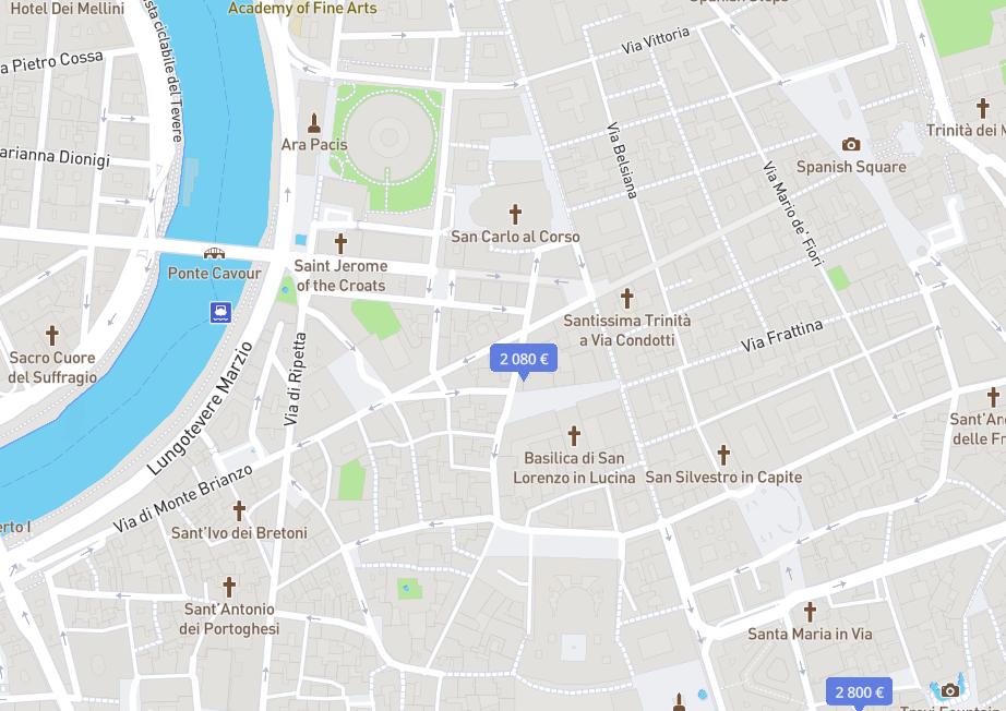 В самом центре почти нет квартир дешевле 1500€ в месяц. Источник: Nestpic