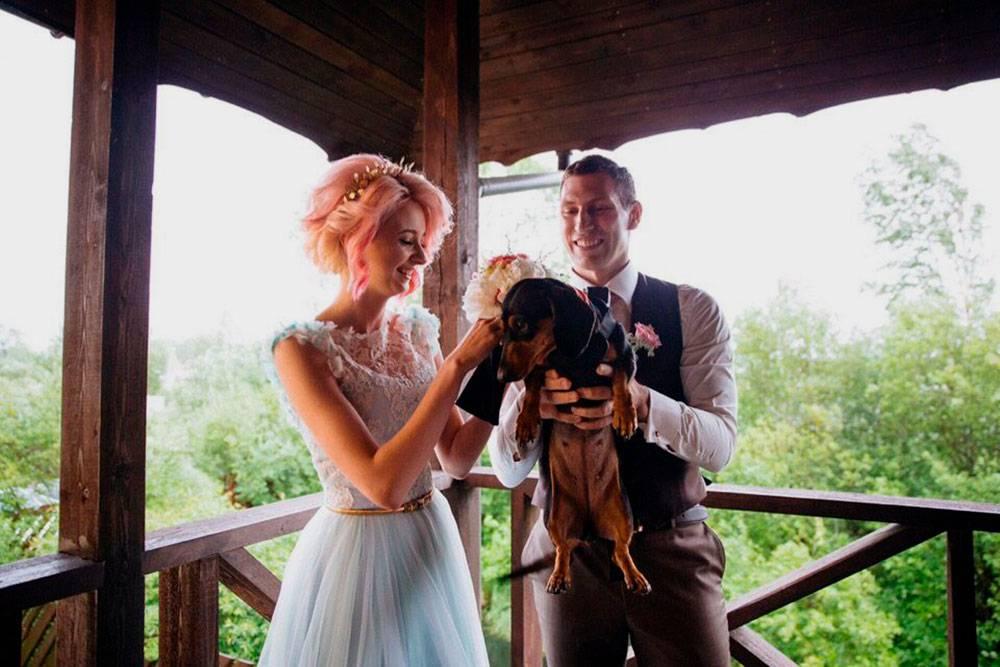 Прежде чем задействовать питомца на свадьбе, стоит оценить его навыки общения с толпой. Эта такса справилась на отлично