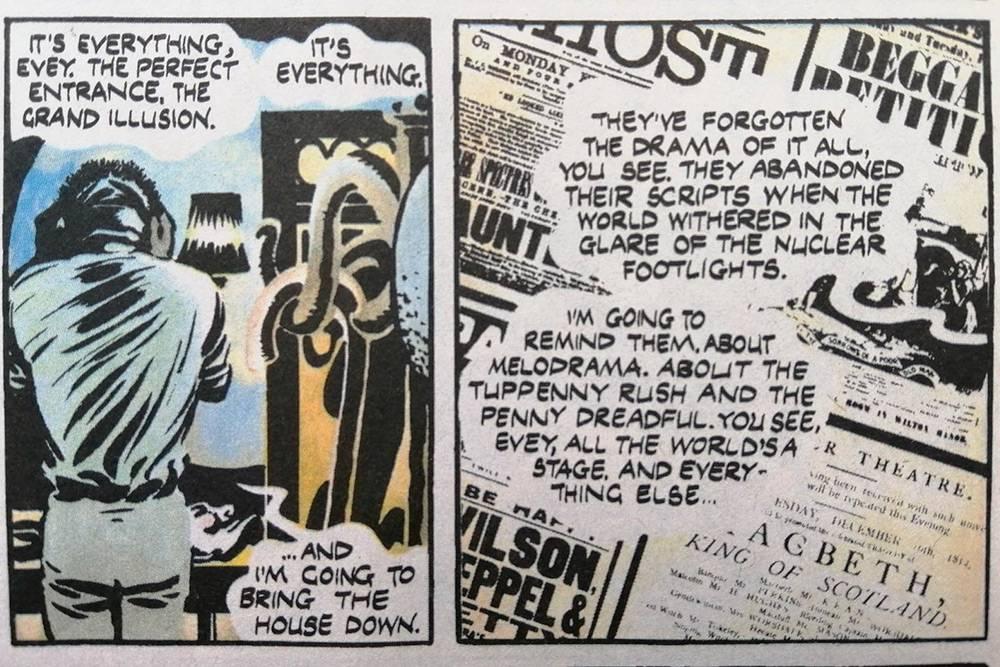 В графическом романе V for Vendetta сложная лексика. Главный герой любит говорить загадками, цитировать Шекспира и использовать идиомы. I'll bring the house down — я сорву овации. The Penny Dreadful — референс к дешевому типу развлекательной литературы, популярной в 19 веке в Великобритании