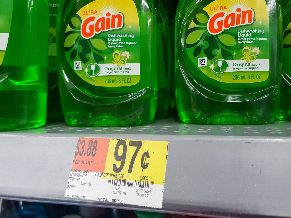 Средство для мытья посуды стоит 0,97$. С учетом налога вы реально заплатите 1,04$