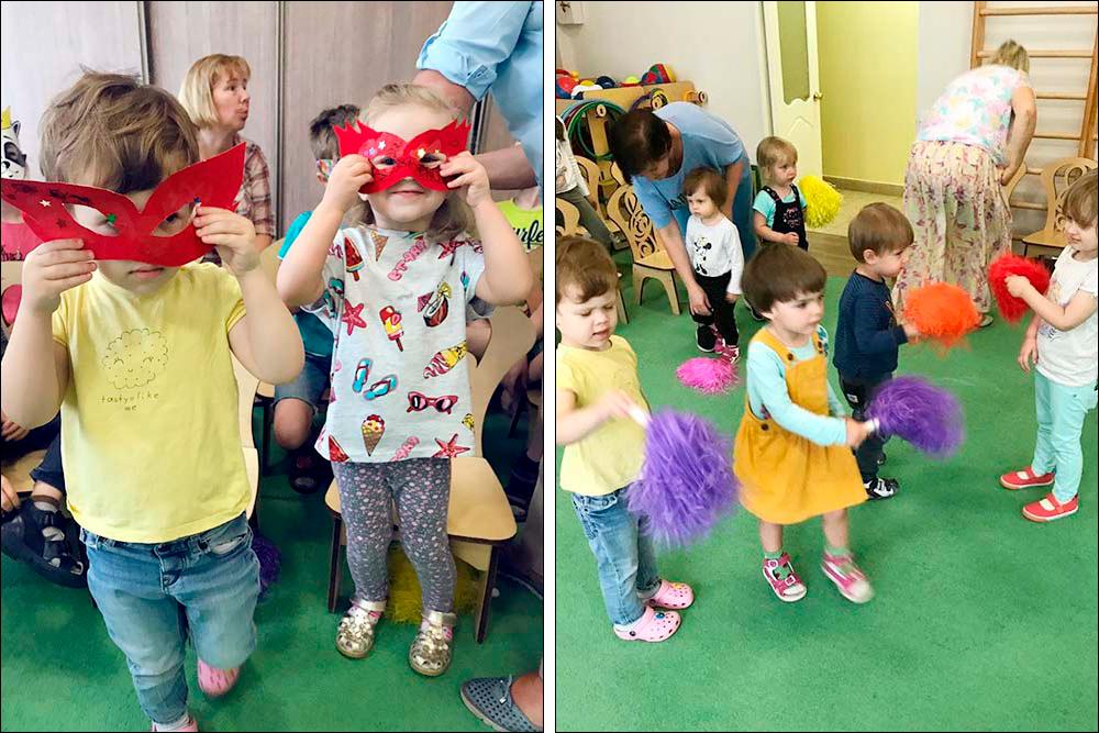 Это «Бразильский карнавал» внашей группе. Детям раздали маски, иони сами ихраскрасили