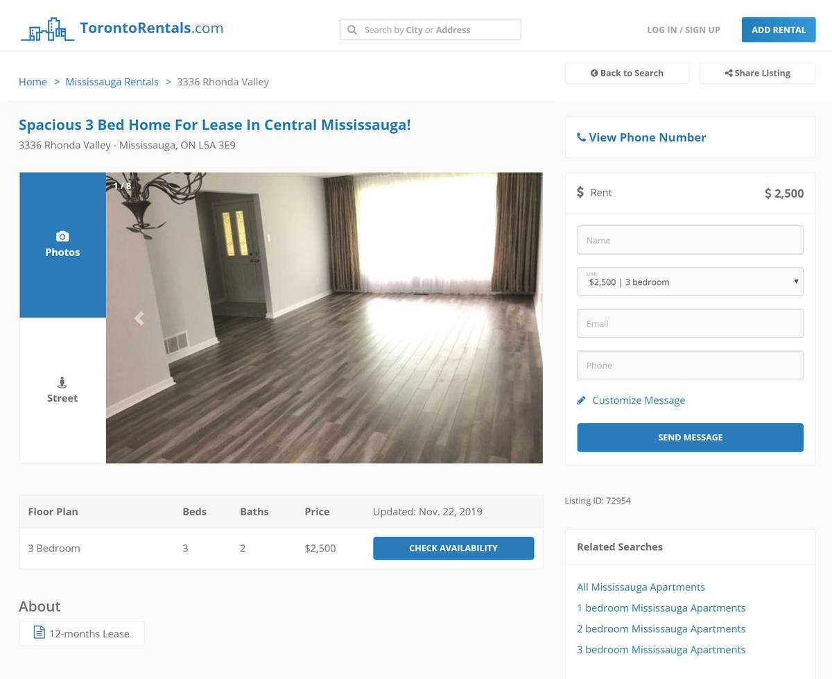 Вот такую квартиру в рентал-комплексе в центре Миссиссоги можно снять за 2500$ (120 668<span class=ruble>Р</span>) в месяц
