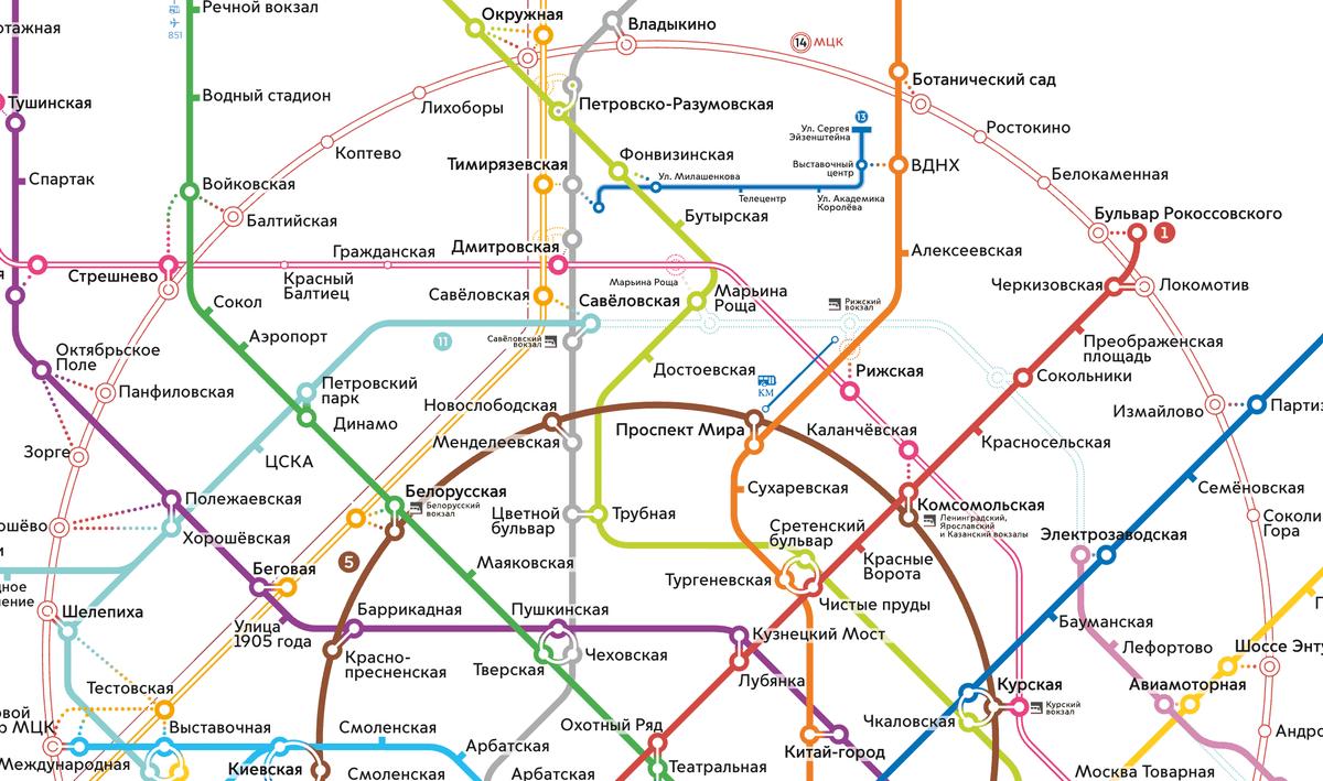 МЦК на схеме обозначено как тонкая полая линия бледно-розового цвета. Ее порядковый номер —14. Источник: «Московский транспорт»