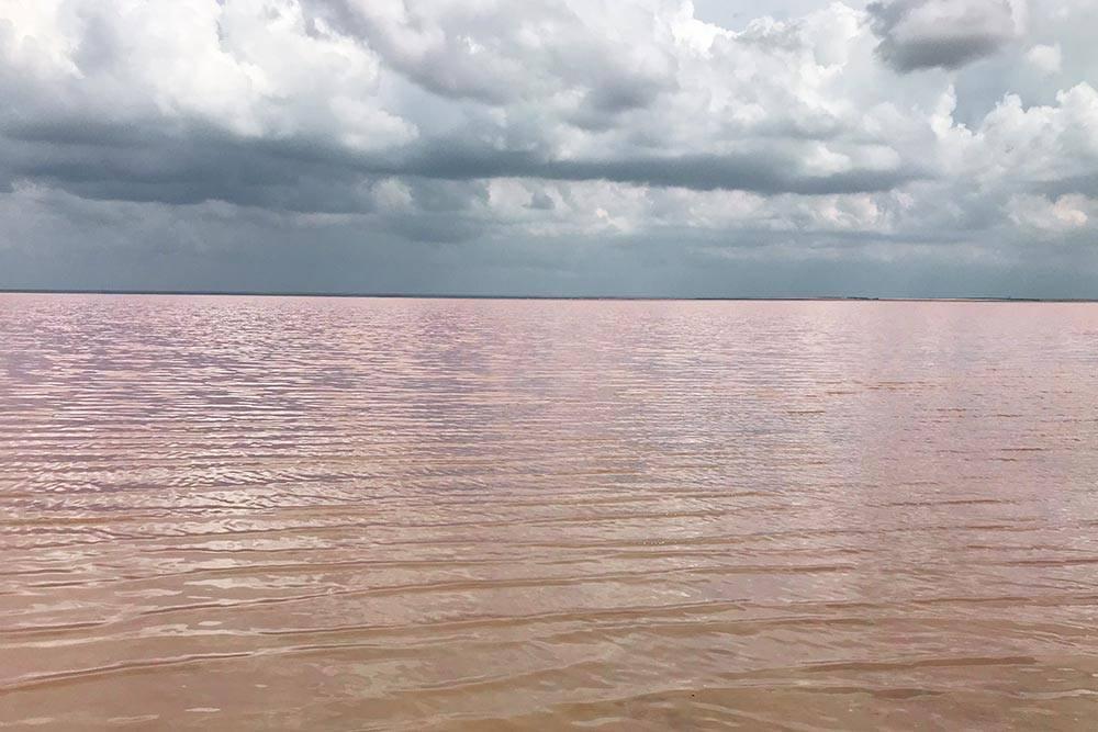 Розовое озеро особенно красиво в лучах солнца