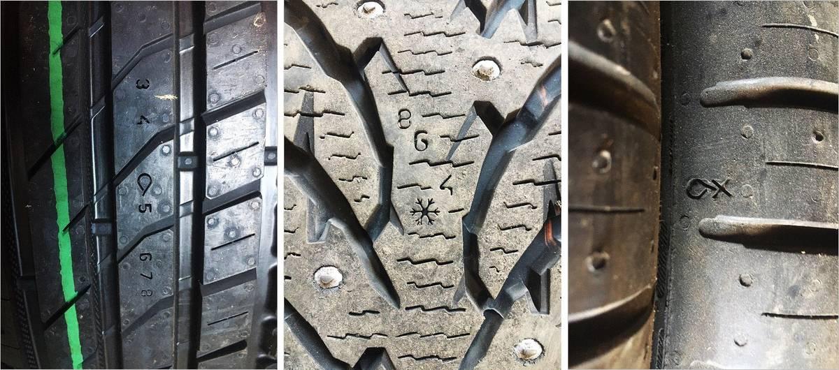 Нестандартные индикаторы износа. Слева направо: «Нокиан» с цифрами — летняя и зимняя, «Континенталь» летняя — с каплей и крестом