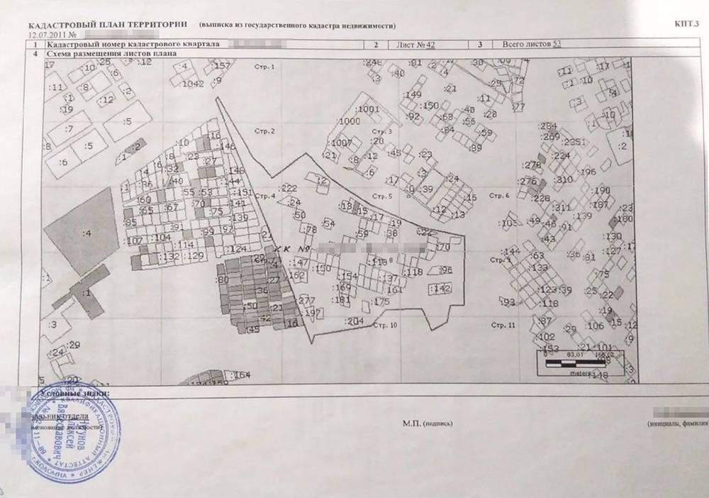 Кадастровый план территории, где находился наш участок