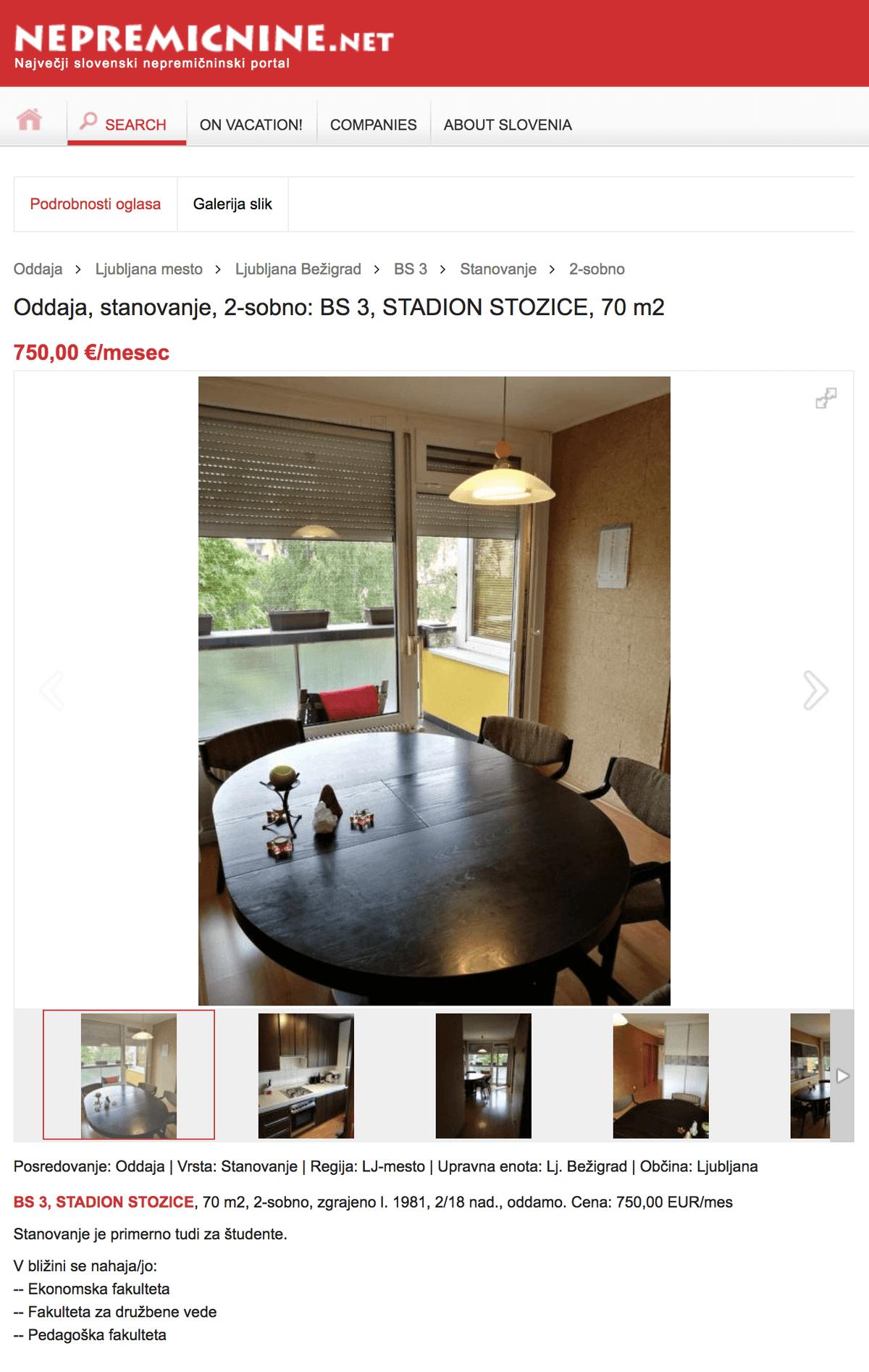 За 750€ можно снять двухкомнатную квартиру в престижном районе Любляны Бежиграде. Второй этаж многоэтажного дома, 1981 год постройки