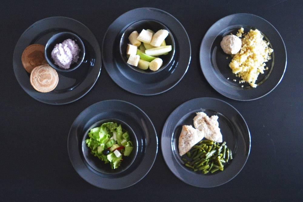 Пример меню на день: овсяные панкейки и творог с черникой, бананы и яблоки, котлета из индейки и булгур, греческий салат, курица с фасолью. Почти как в доставке, но больше овощей и фруктов