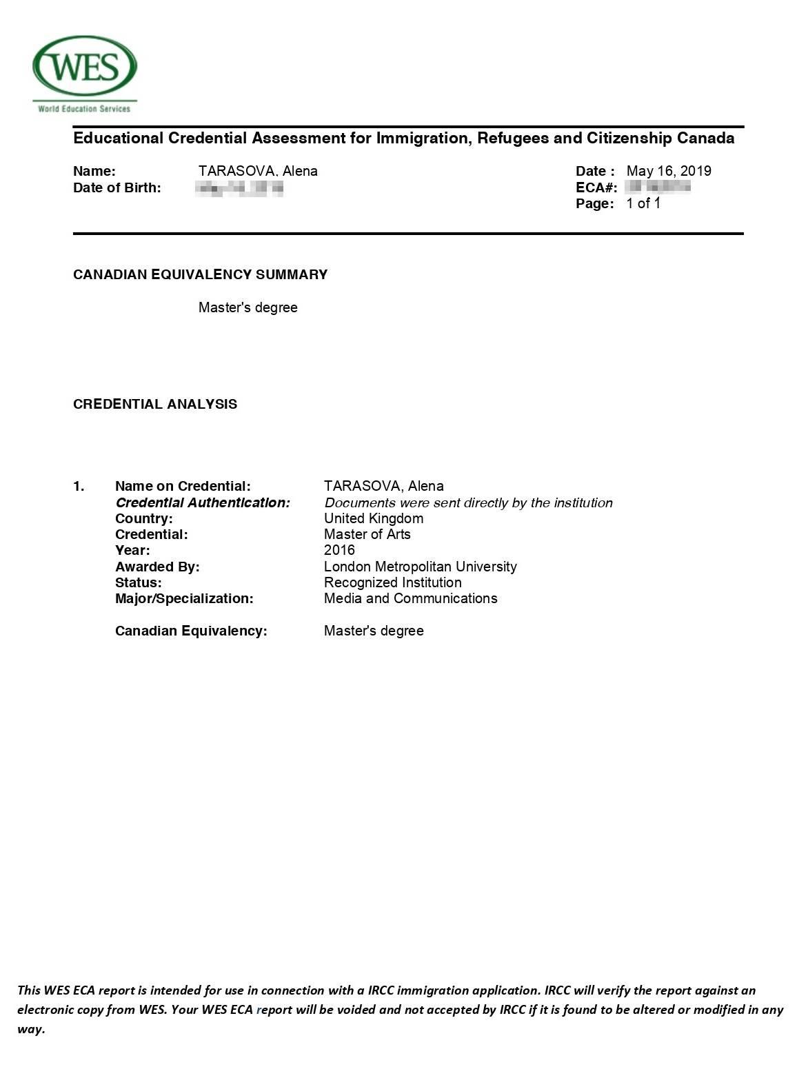 Отчет WES об оценке моего образования