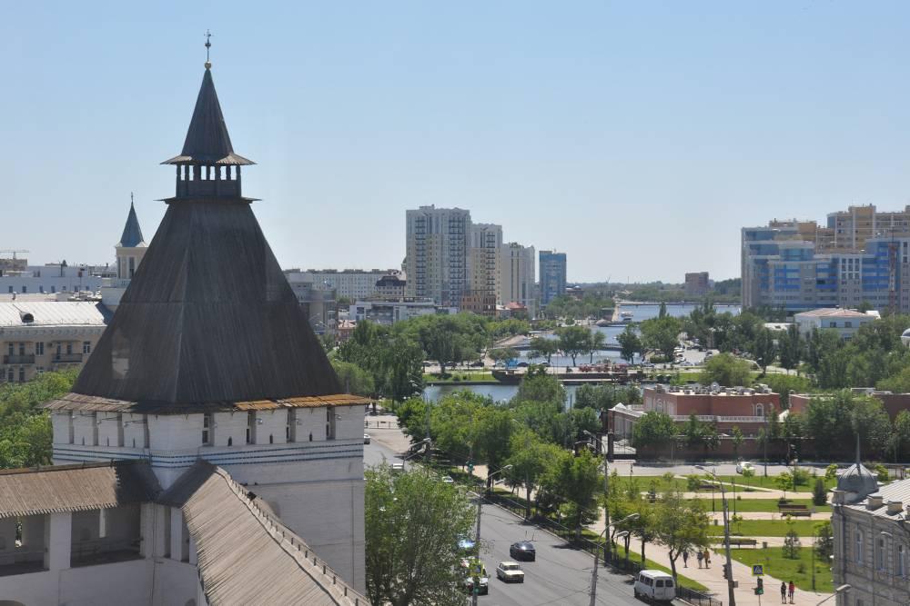 Вид на город со стены Астраханского кремля