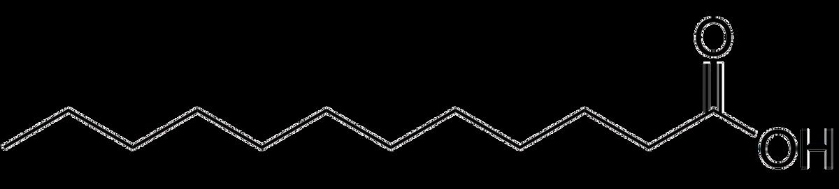 Строение лауриновой кислоты — основы кокосового масла, которое при комнатной температуре твердое