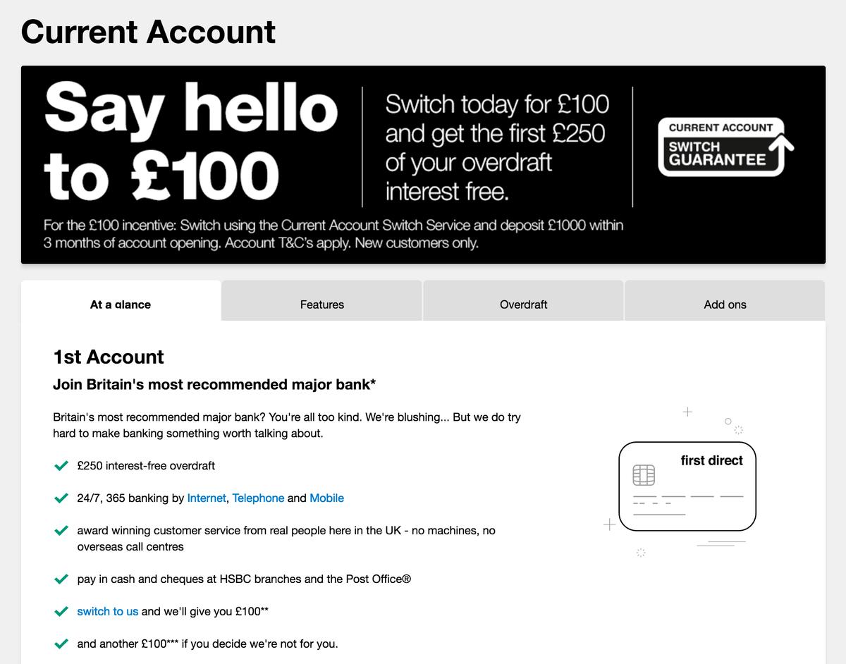 100£ на счет новым клиентам предлагает банк First Direct