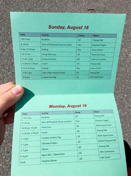Расписание ориентационной программы вколледже
