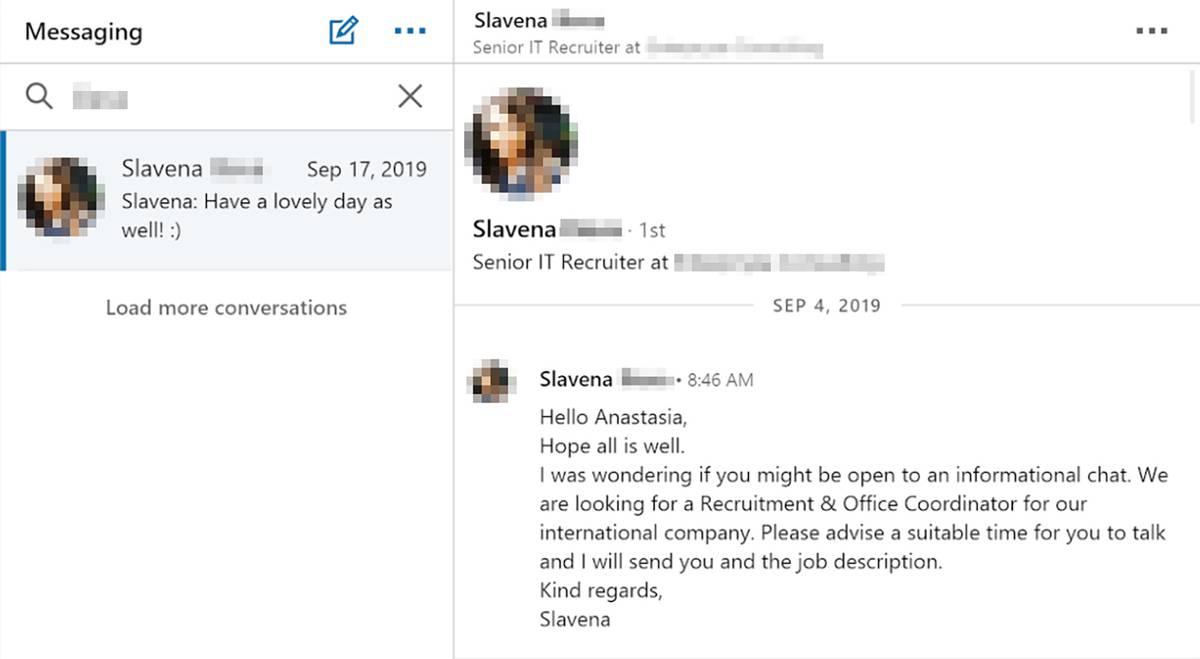 Письмо рекрутера с предложением обсудить вакансию