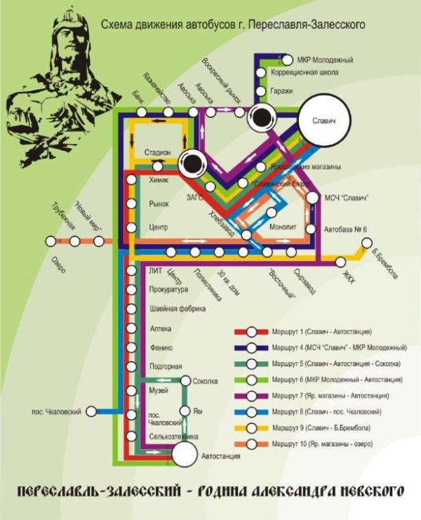Схема движения автобусов. Источник: admpereslavl.ru