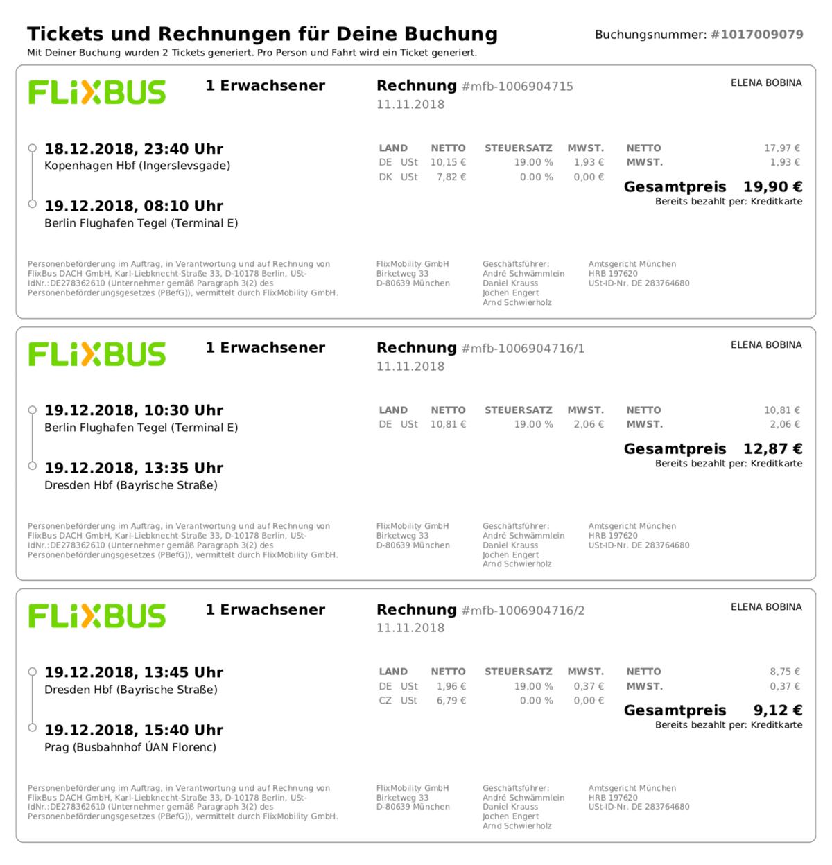 Наш билет на ночной автобус Копенгаген — Прага с пересадкой в аэропорту Берлина