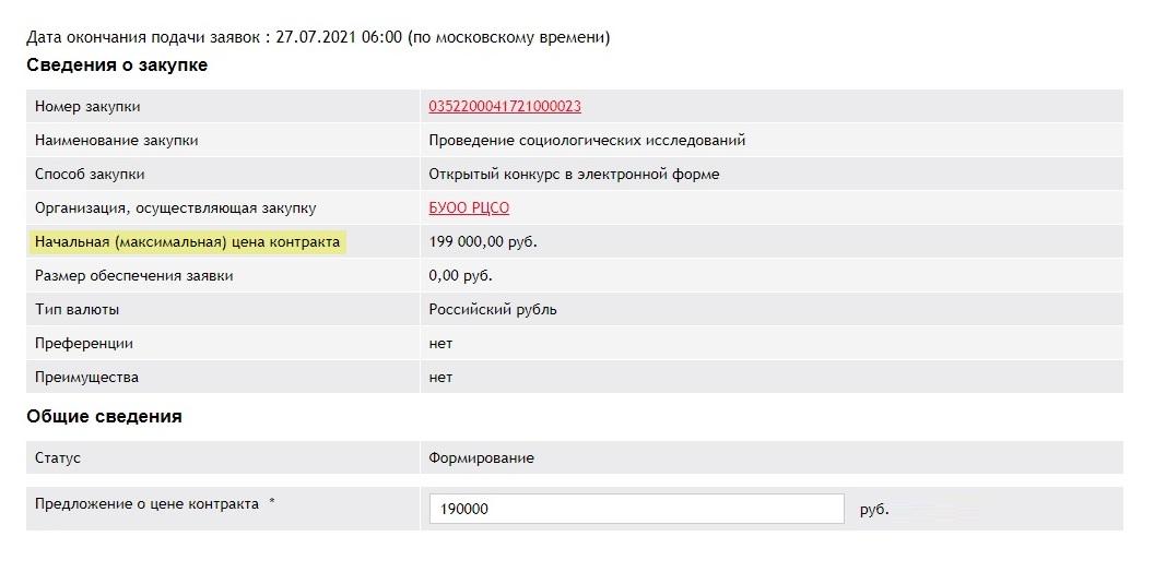 В этом примере начальная цена — 199 000<span class=ruble>Р</span>, но я предложил 190 000<span class=ruble>Р</span>