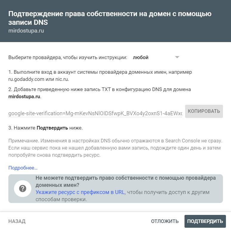 В этом окне нужно скопировать txt-запись и добавить ее на сайт регистратора. Только после этого можно нажать кнопку «Подтвердить»