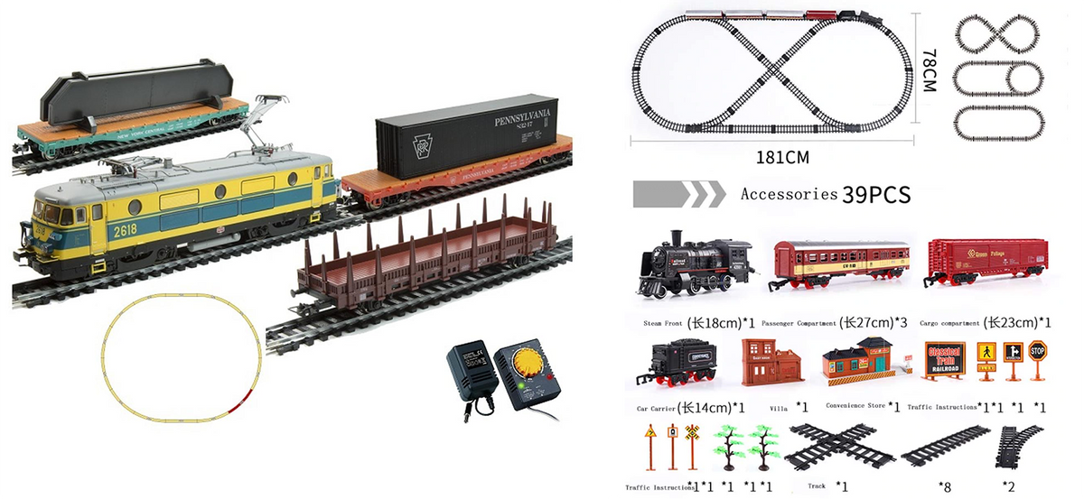 Слева — оригинал: электровоз с тремя вагонами, рельсы и блок питания — 14 999<span class=ruble>Р</span>. Справа — аналог: от 2400<span class=ruble>Р</span>