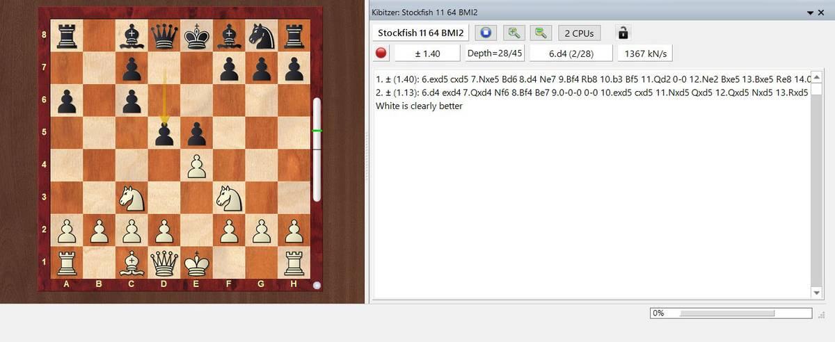 Анализ партии в ChessBase16 c помощью движка Stockfish11
