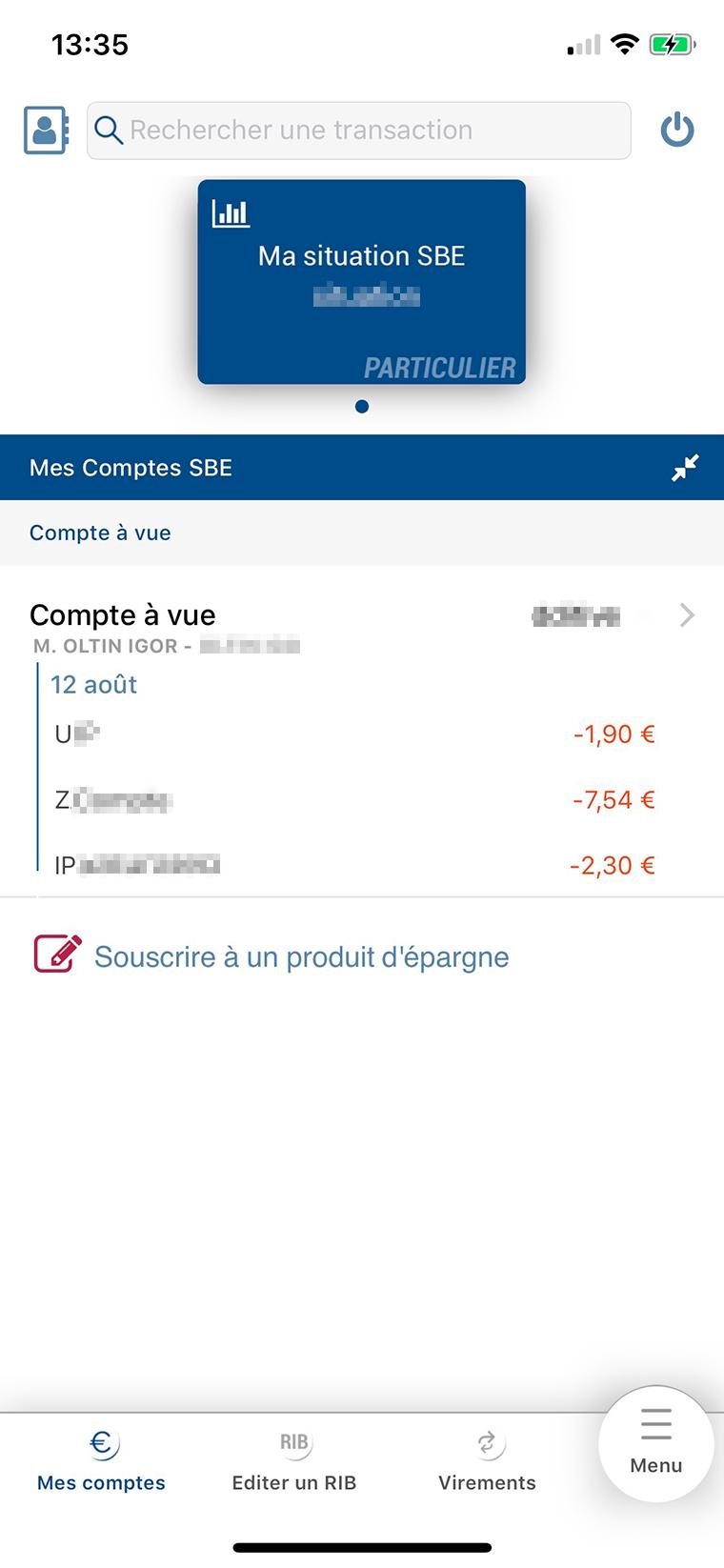 Так выглядит мобильное приложение банка BRED. Операции отображаются на следующий день, деньги со счета могут списываться неделю