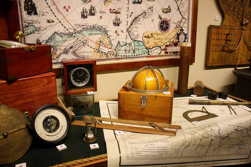 На выставке представлены навигационные приборы прошлых лет
