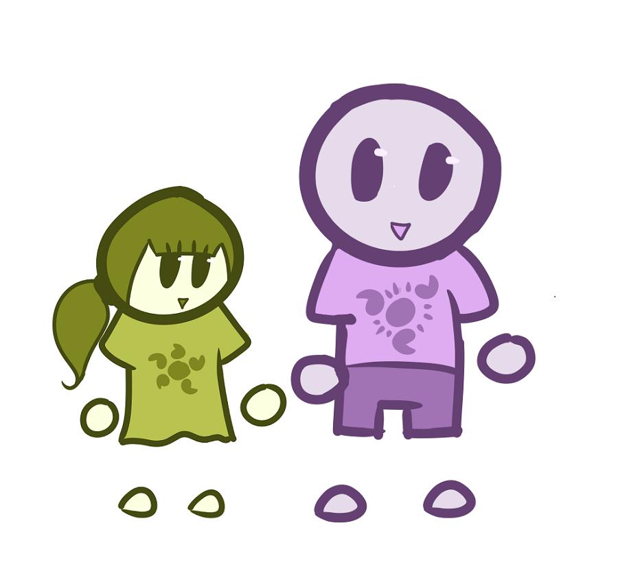 «Сестра и я» — рисунок сына на планшетнике