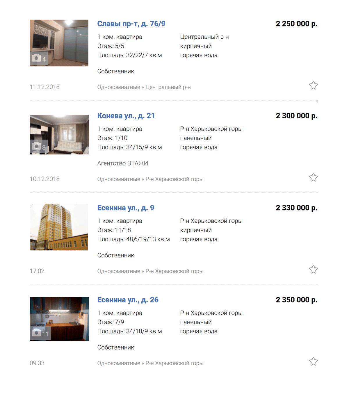 Цены на однокомнатные квартиры на сайте газеты «Моя реклама» начинаются от 2,2 млн рублей