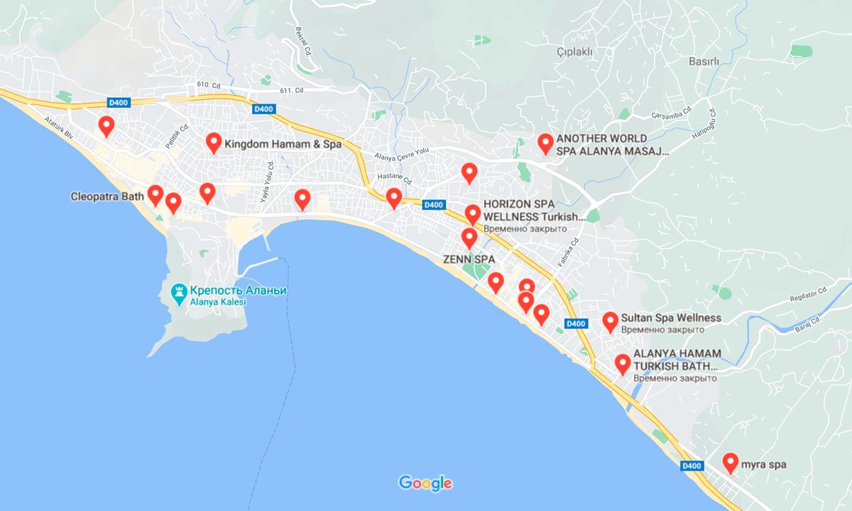 Длямаленького города вМахмутларе очень много бань и спа-центров. Ипочти увсех высокий рейтинг в «Гугл-картах» — можно ехать влюбые