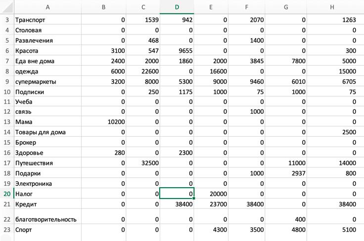 Так выглядит таблица, в которой я учитываю расходы