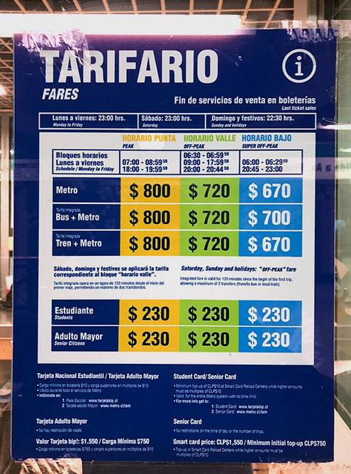 Стоимость проезда в метро Сантьяго. В пиковое время с 07:00 до 08:59 и с 18:00 до 18:59 поездка обойдется дороже