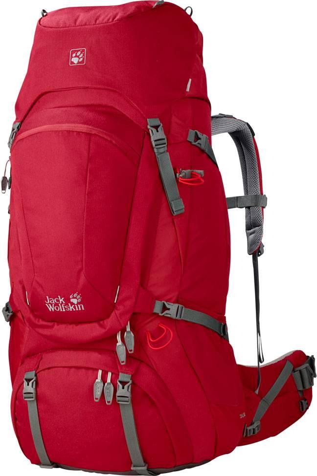 Походный рюкзак — минимум на 80 литров. В него складывают все, что нужно в походе: провизию и снаряжение, штурмовой рюкзак. Ледоруб обычно не влезает, поэтому его крепят снаружи с помощью оранжевых резинок. В этом рюкзаке можно унести все, что нужно для горного похода и восхождения. Такой рюкзак стоит минимум 9000<span class=ruble>Р</span>. Источник: Novatour.ru