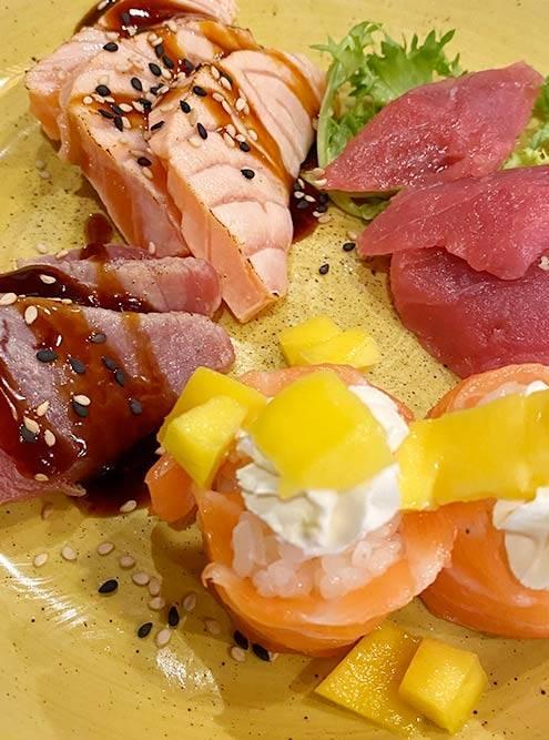 Сашими из семги и тунца, роллы в ресторане Sushi Xin: платите 15€ за обед и можете съесть хоть сотню таких порций