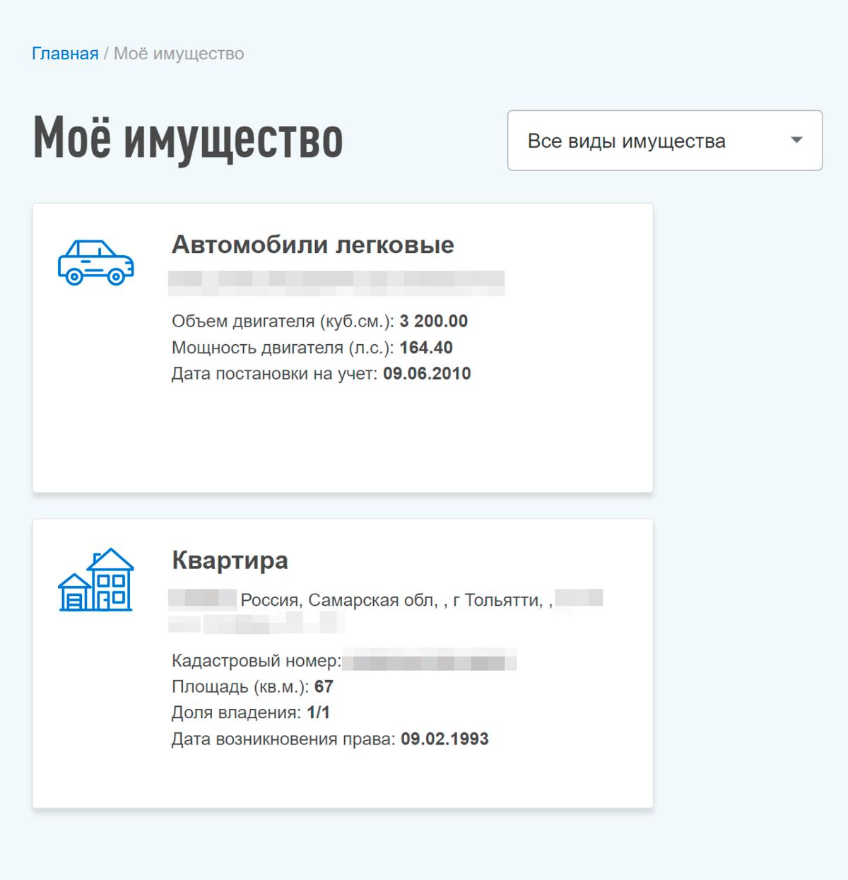 Скрин из личного кабинета мамы на сайте налоговой. Во вкладке «Мое имущество» отображается только квартира в Тольятти — о московской квартире никаких данных нет