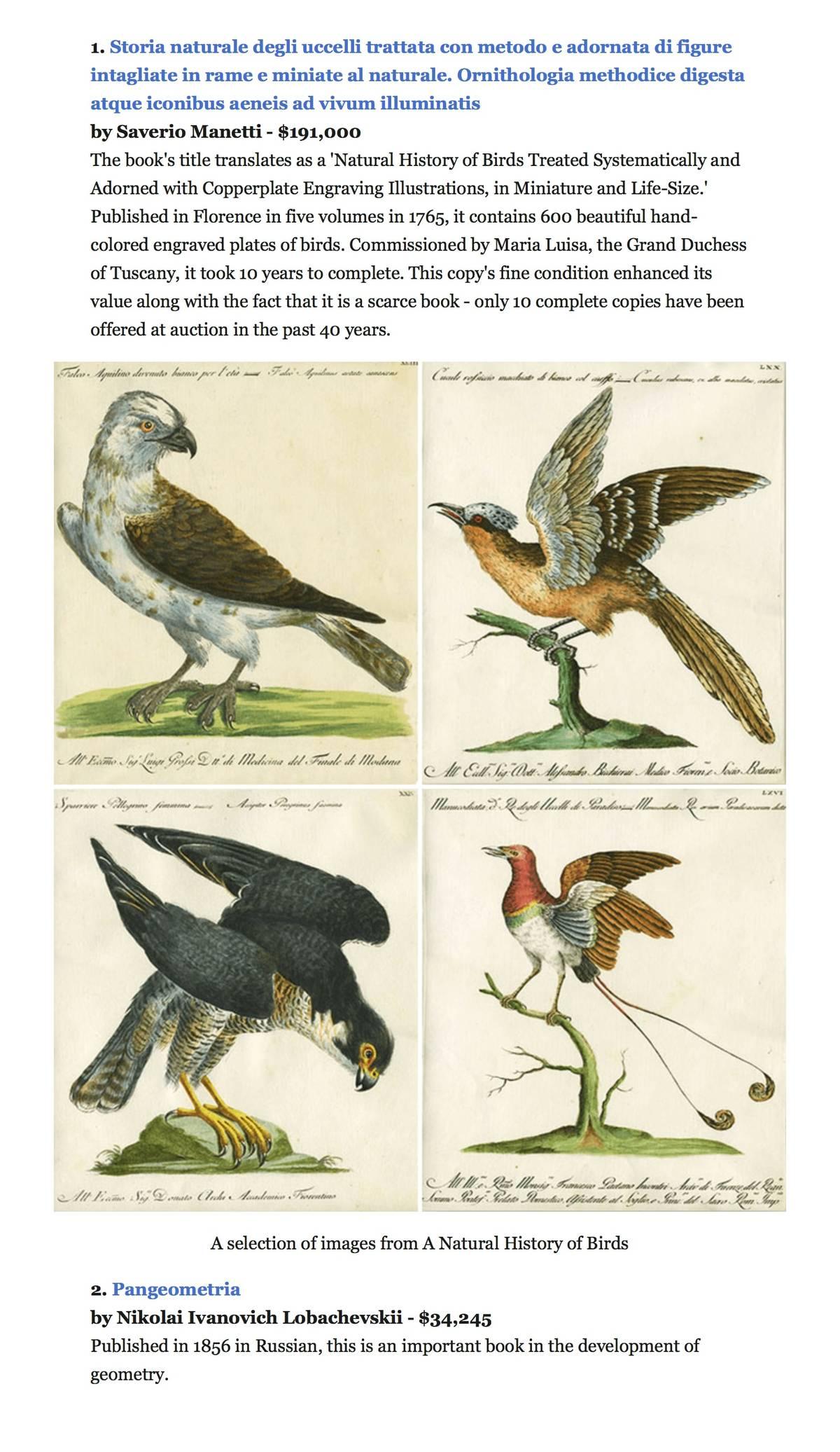 Abebooks.com — интернет-рынок, где продают книги. Самая дорогая из проданных здесь книг — исключительной красоты «Естественная история птиц». Покупателю она обошлась в 191 тысячу долларов