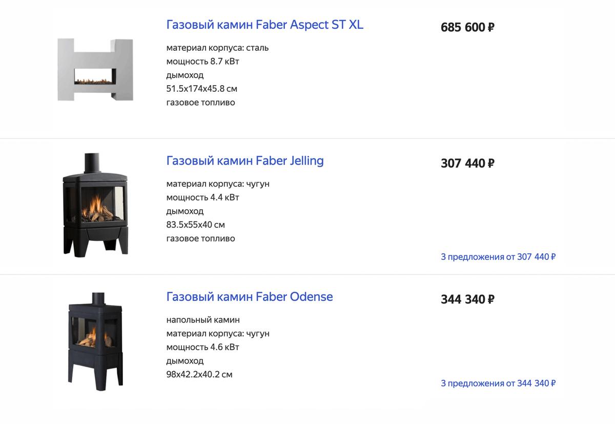 Газовые камины — дорогое решение. Они стоят несколько сотен тысяч рублей. Источник: «Яндекс-маркет»