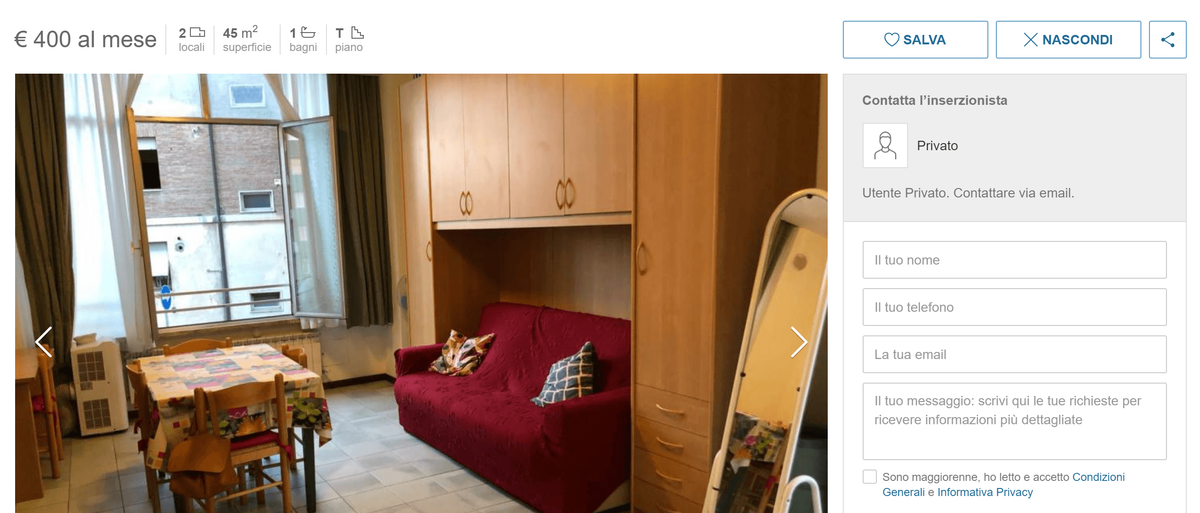 Аренда квартиры c низким классом энергопотребления A на нулевом этаже стоит 400€ (31 200<span class=ruble>Р</span>). Такие квартиры в центре — скорее исключение. Я нашла всего три