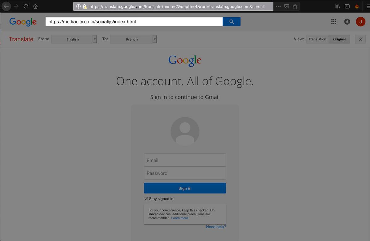 Так выглядит фишинговая страница, которую прогнали через гугл-переводчик. На первый взгляд, все легально: в адресной строке — адрес translate.google.com, который кажется доверенным, а окно входа в аккаунт не выглядит подозрительно. Настоящий адрес мошеннического сайта написан в поле поиска ниже, но туда уже мало кто смотрит