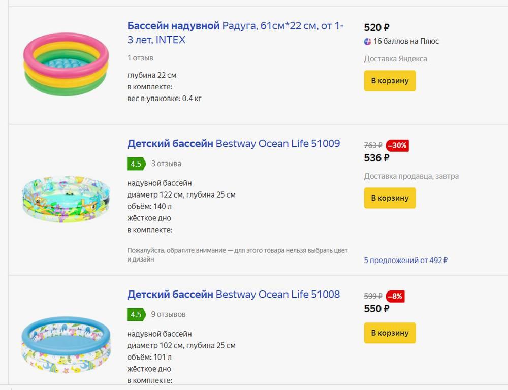 Простенькие надувные бассейны стоят недорого, но и их качество оставляет желать лучшего. Источник: market.yandex.ru