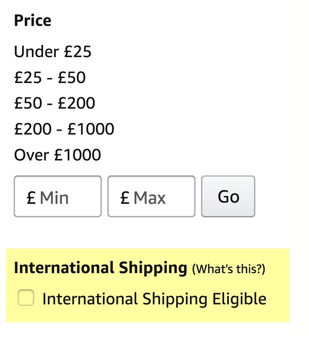 Пункт «Доступен для международной доставки» на британском «Амазоне»