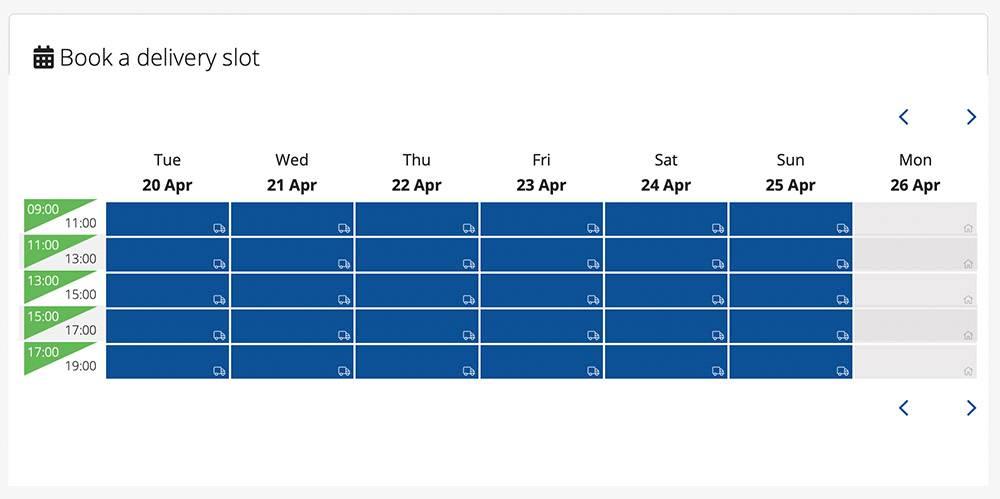 Выбор интервалов доставки в воскресенье 18 апреля. Источник: alphamega.com.cy