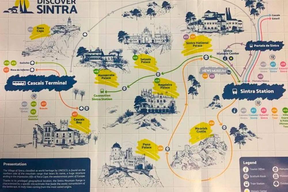 Карта автобусных маршрутов в Синтре. Источник: routesandtrips.com